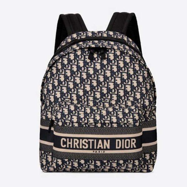 Dior Unisex Diortravel Backpack Blue Dior Oblique Jacquard 'Christian Dior'