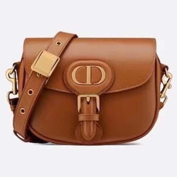 Dior Unisex Medium Dior Bobby Bag Box Calfskin Suede Interior-Brown