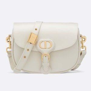 Dior Unisex Medium Dior Bobby Bag Box Calfskin Suede Interior-White