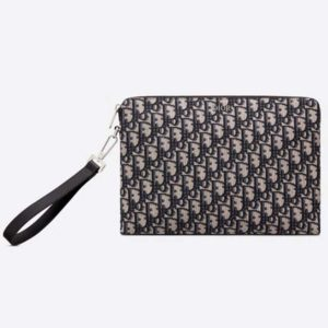 Dior Unisex Pouch Beige and Black Dior Oblique Jacquard-Black