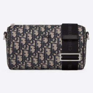 Dior Unisex Roller Messenger Bag Beige Black Dior Oblique Jacquard