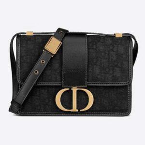 Dior Women 30 Montaigne Bag Black Dior Oblique Jacquard