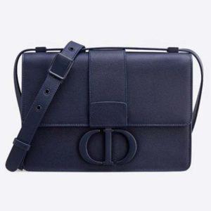 Dior Women 30 Montaigne Bag in Ultramatte Grained Calfskin-Navy