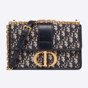 Dior Women 30 Montaigne Chain Bag Blue Dior Oblique Jacquard