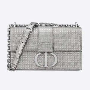 Dior Women 30 Montaigne Chain Bag Microcannage Calfskin Flap Closure-Silver