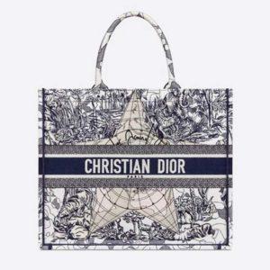 Dior Women Book Tote Blue Multicolor Dior Around the World Embroidery