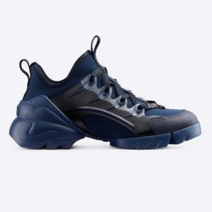 Dior Women D-Connect Sneaker Indigo Blue Technical Fabric Neoprene