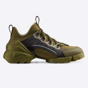 Dior Women D-Connect Sneaker Khaki Technical Fabric Neoprene-Dark Green