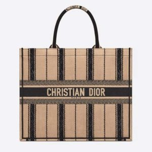 Dior Women Dior Book Tote Black and Beige Bayadère Embroidery