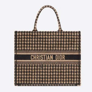 Dior Women Dior Book Tote Black and Beige Houndstooth Embroidery