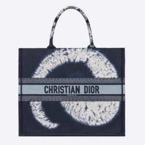 Dior Women Dior Book Tote Blue Multicolor Tie & Dior Embroidery