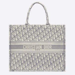 Dior Women Dior Book Tote Gray Dior Oblique Embroidery Signature