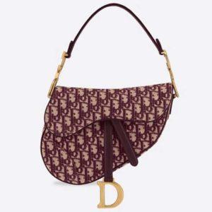 Dior Women Iconic Saddle Bag Burgundy Dior Oblique Embroidered Canvas