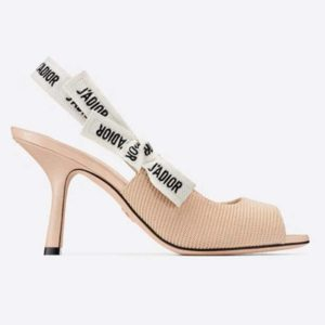 Dior Women J'Adior Heeled Sandal Nude Technical Fabric Embroidered Cotton Flat Bow