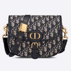 Dior Women Medium Dior Body Bag Blue Dior Oblique Jacquard