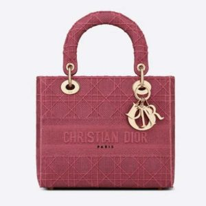 Dior Women Medium Lady D-Lite Bag Cannage Embroidery-Rose
