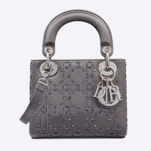 Dior Women Mini Lady Dior Bag Cannage Satin with Rhinestones-Grey
