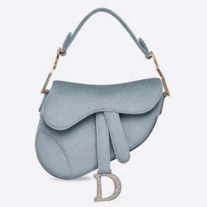 Dior Women Mini Saddle Bag in Steel Gray Velvet