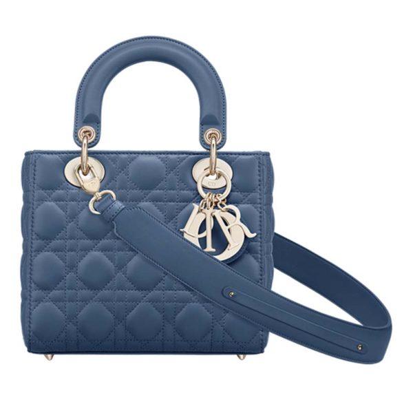 Dior Women My ABCDior Lady Dior Bag Cannage Lambskin-Blue