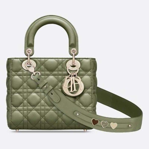 Dior Women My ABCDior Lady Dior Bag Cannage Lambskin-Dark Green