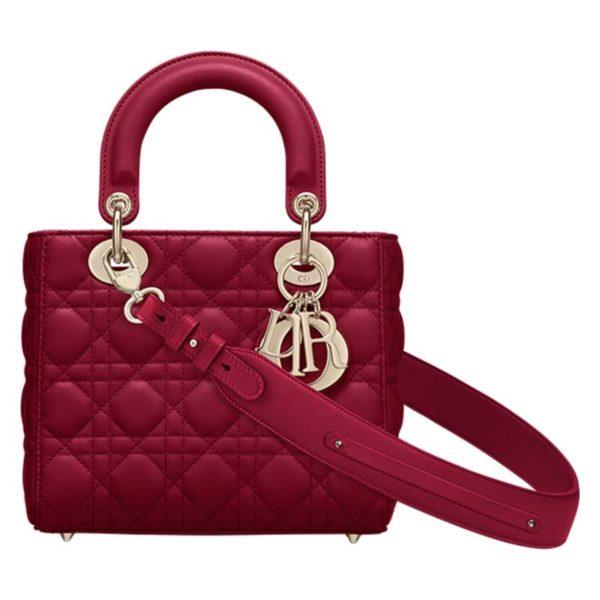 Dior Women My ABCDior Lady Dior Bag Cannage Lambskin-Maroon