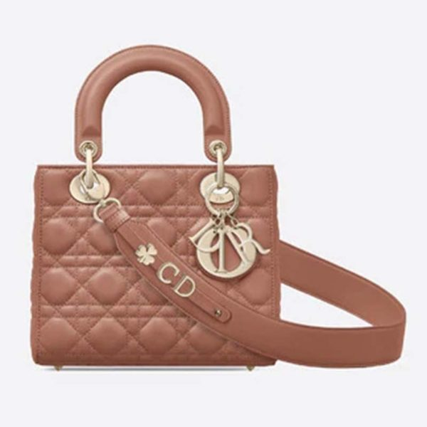 Dior Women My ABCDior Lady Dior Bag Cannage Lambskin-Pink