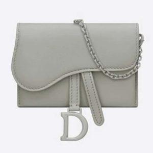 Dior Women Saddle Nano Pouch Gray Stone Ultramatte Calfskin-Green