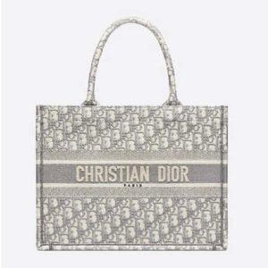 Dior Women Small Dior Book Tote Gray Dior Oblique Embroidery
