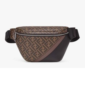 Fendi Men Belt Bag Brown Fabric FF Motif Black Leather