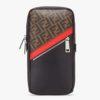 Fendi Men Belt Bag One-Shoulder Backpack Brown Fabric Leather FF