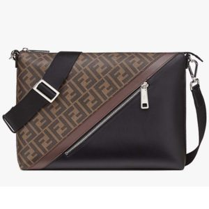 Fendi Men Slim Messenger Textured Brown Fabric Bag FF Motif