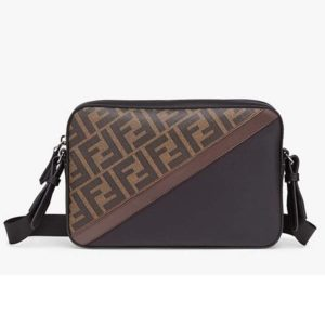 Fendi Unisex Camera Case Compact Shoulder Brown Fabric Bag FF Motif