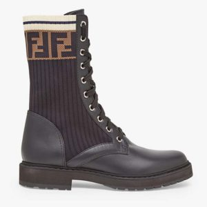 Fendi Women Ankle Boots Black Leather Biker Boots Calfskin Leather
