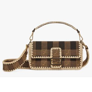 Fendi Women Baguette Bag Medium Size Brown Fabric Bag FF