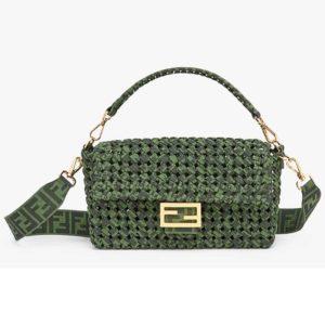 Fendi Women Baguette Bag Medium Size Jacquard Fabric Interlace Bag