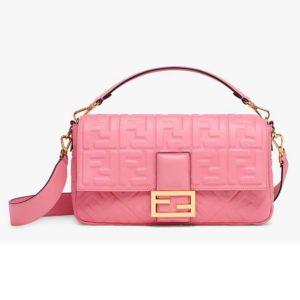 Fendi Women Baguette Large Leather Bag Lambskin All-Over FF-Pink