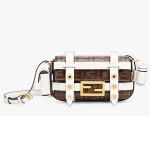 Fendi Women Baguette Mini Cage Multicolor Leather and Fabric Bag-White