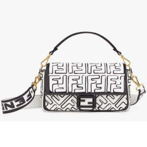 Fendi Women Baguette White Nappa Lamb Leather FF Print Bag