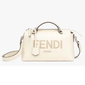 Fendi Women By The Way Medium Boston Bag White Leather