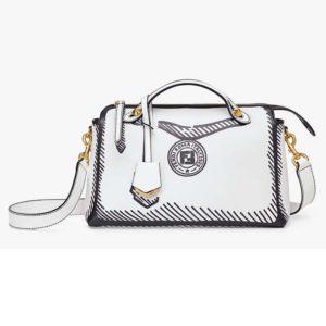 Fendi Women By The Way Medium White Leather Printed Boston Bag