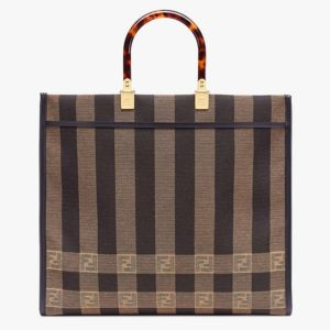 Fendi Women Fendi Sunshine Large Shopper Bag Brown Jacquard Fabric