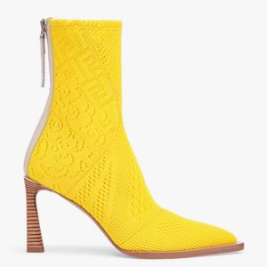 Fendi Women High-Tech Yellow Jacquard Ankle Boots FFrame Pointed-Toe