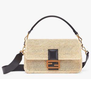 Fendi Women Iconic Baguette Large Size Natural Straw Bag-Beige