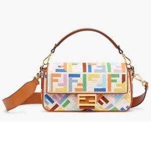 Fendi Women Iconic Baguette Medium Size FF Beige Canvas Bag