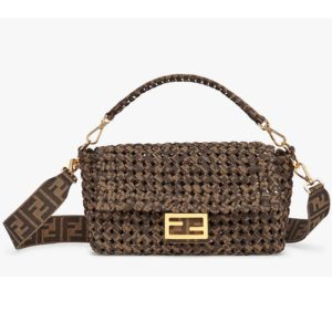 Fendi Women Iconic Baguette Medium Size Jacquard Fabric Interlace Bag