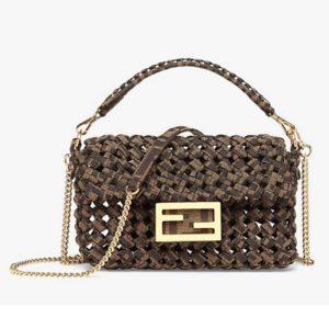 Fendi Women Iconic Baguette Mini Size Jacquard Fabric Interlace Bag