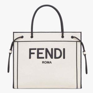 Fendi Women Large Fendi Roma Shopper Undyed Canvas Shopper Bag