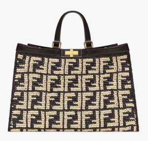 Fendi Women Large Peekaboo X-Tote Bag Black FF Raffia Bag