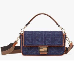 Fendi Women Medium Iconic Baguette Blue Denim Embroidered FF Bag
