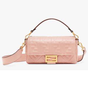 Fendi Women Medium Iconic Baguette Lambskin All-Over FF Motif-Pink